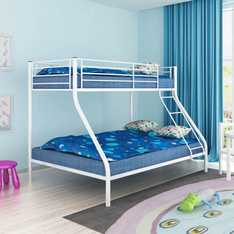 łóżko Piętrowe Dla Dzieci Białe Metalowe 140x20090x200 Cm