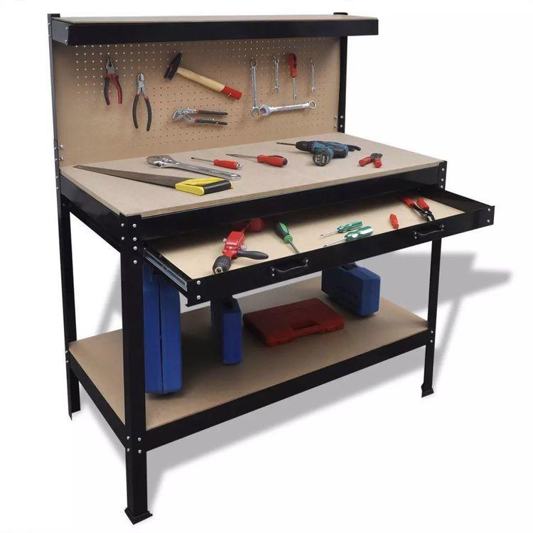 Blat roboczy z tablicą na narzędzia i szufladą