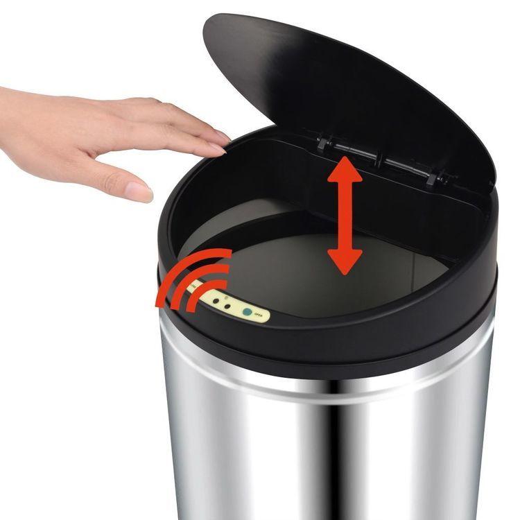 Automatyczny kosz na śmieci z czujnikiem, stal nierdzewna, 62 L