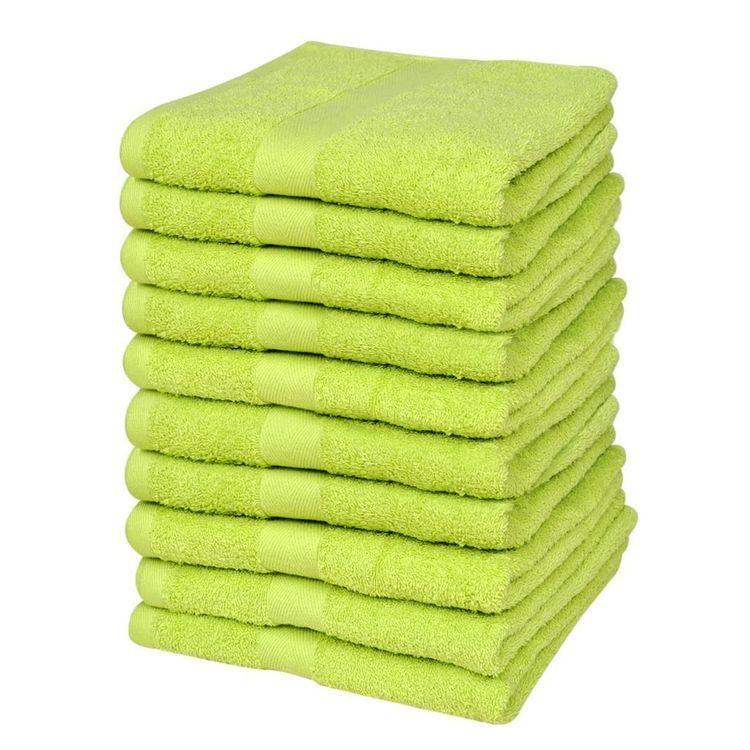 Ręczniki, 10 szt., bawełna, 500 g/m², 30x50 cm, zielone