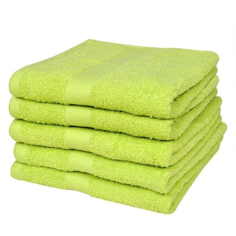 Ręczniki, 5 szt., bawełna, 500 g/m², 100x150 cm, zielone
