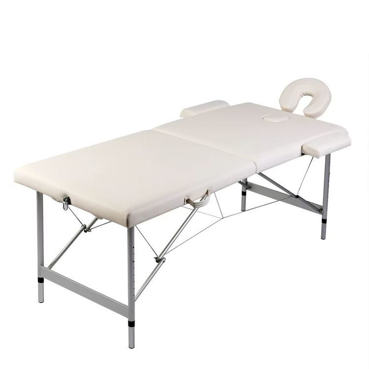 Kremowy składany stół do masażu 2 strefy z aluminiową ramą