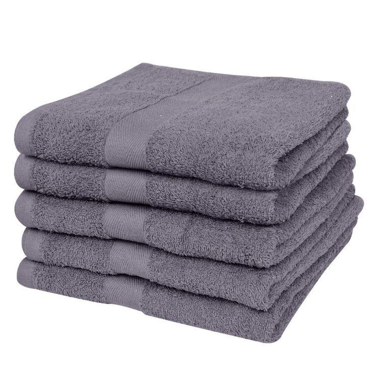 Ręczniki, 5 szt., bawełna, 500 g/m², 80x200 cm, antracytowe