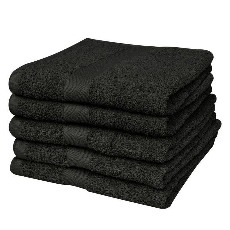 Ręczniki, 5 szt,, bawełna, 500 g/m², 100x150 cm, czarne