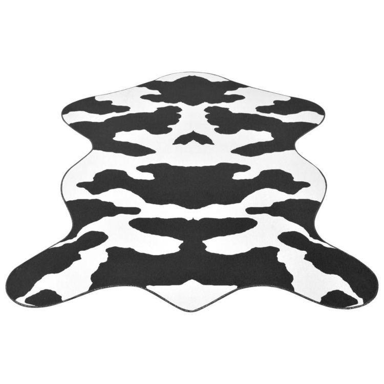 Dywanik 70x110 cm bydlęca skórka w czarne łatki