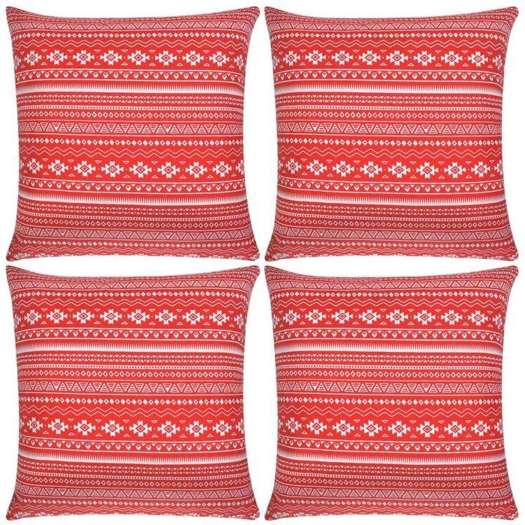 Poszewki na poduszki, 4 szt., z czerwonym nadrukiem, 40x40 cm