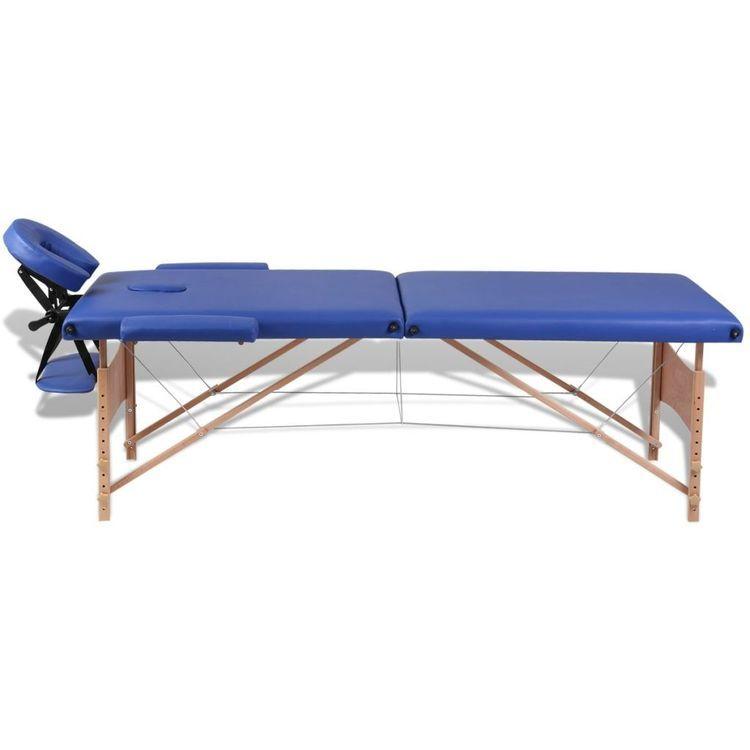 Niebieski składany stół do masażu 2 strefy z drewnianą ramą