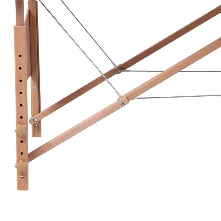 Czerwony składany stół do masażu 2 strefy z drewnianą ramą