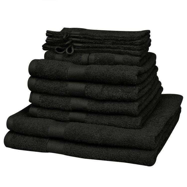 Komplet 12 ręczników, bawełna, 500 g/m², czarny