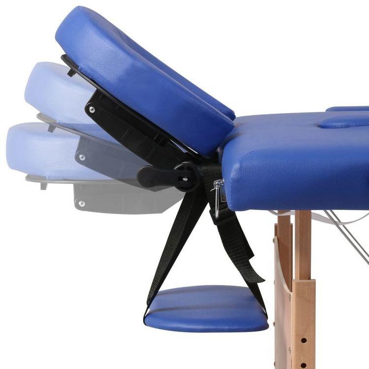 Niebieski składany stół do masażu 3 strefy z drewnianą ramą