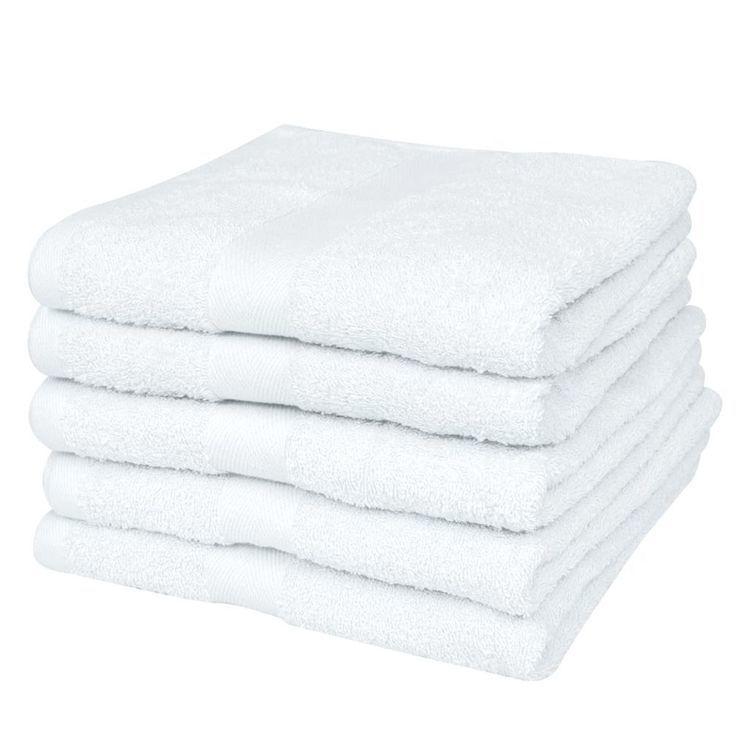 Ręczniki, 5 szt., bawełna, 500 g/m², 70x140 cm, białe