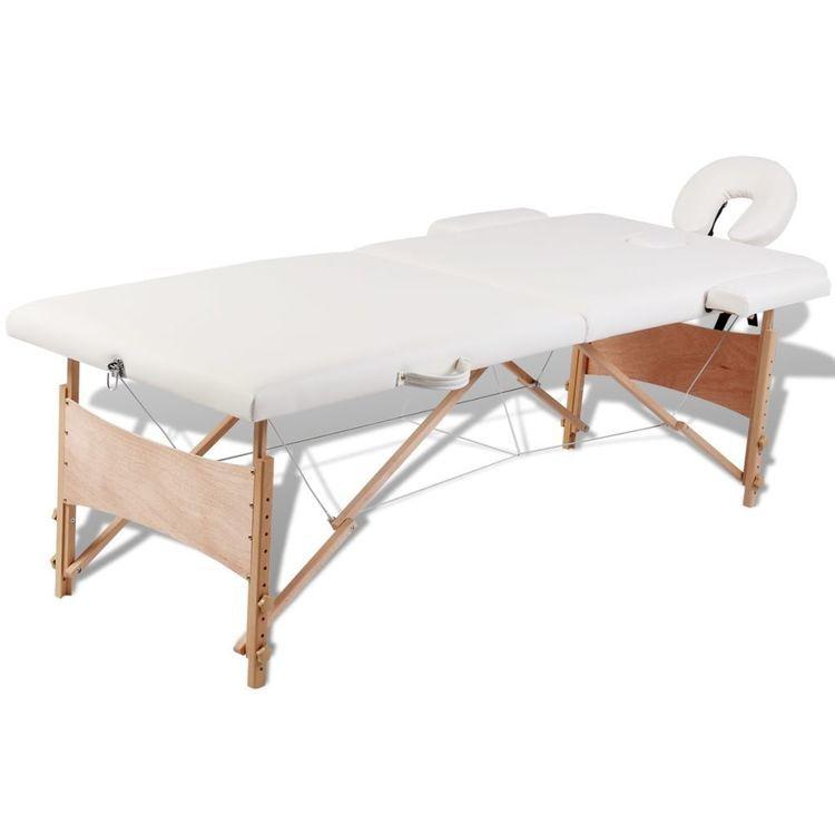 Kremowy składany stół do masażu 2 strefy z drewnianą ramą