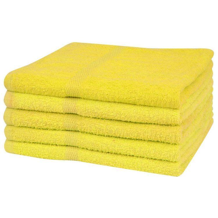 Ręczniki do sauny, 5 szt., bawełna 360 g/m², 80x200 cm, żółte