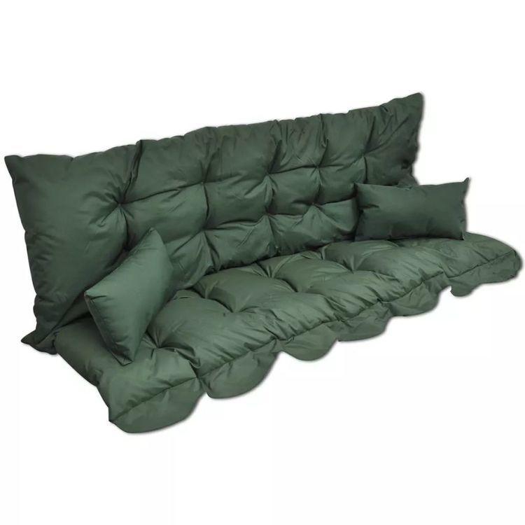 4-częściowy zestaw poduszek na huśtawkę, zielony, tkanina
