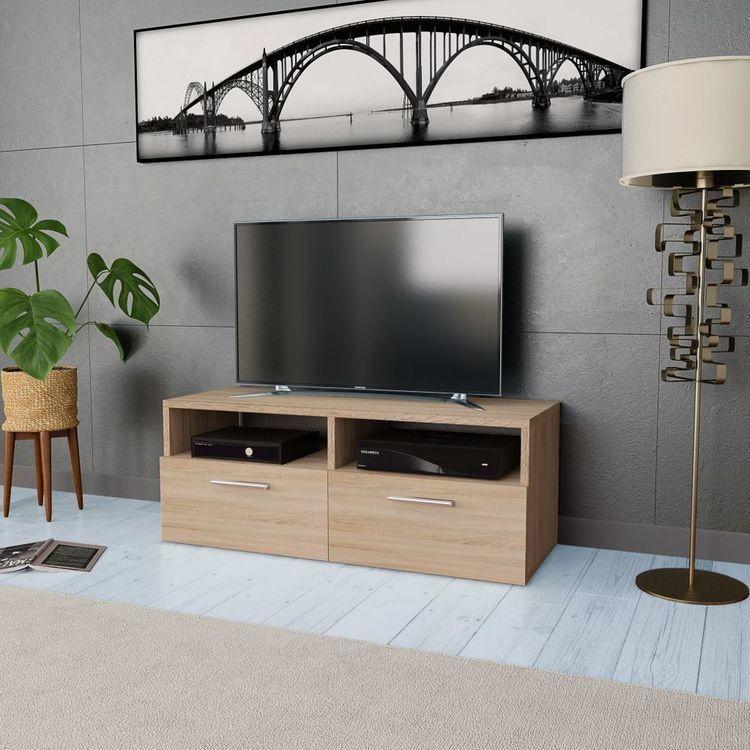 Szafka pod TV z płyty wiórowej, 95x35x36 cm, kolor dębowy