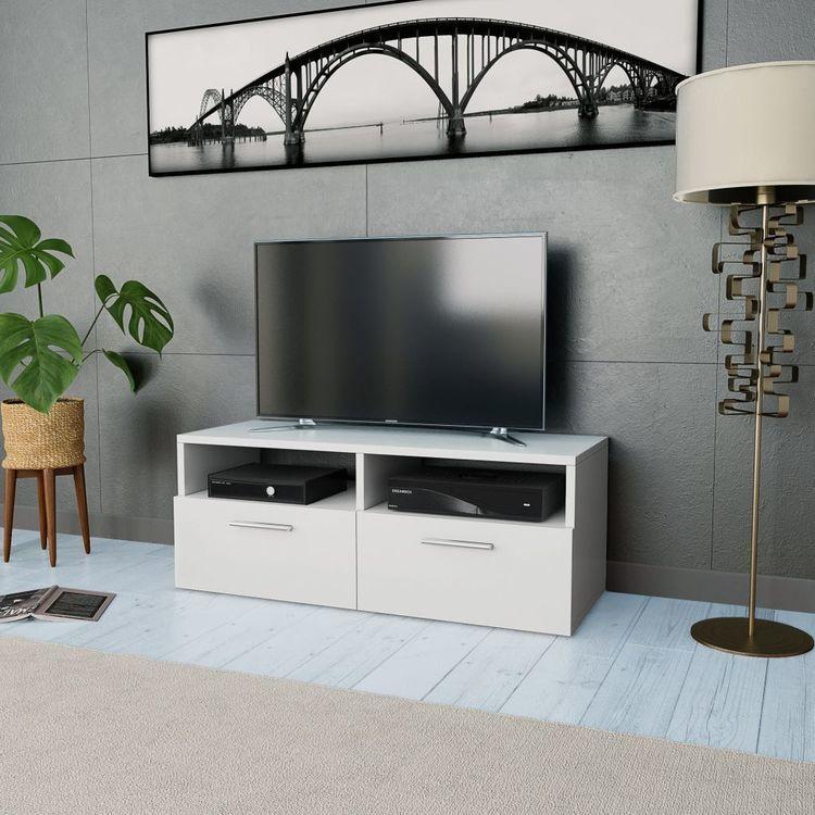 Szafka pod TV z płyty wiórowej, 95 x 35 x 36 cm, biała