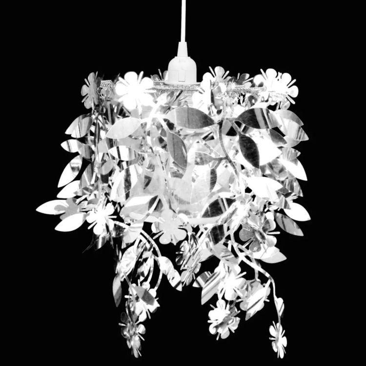 Lampa z abażurem w kształcie liści, 21,5 x 30 cm, srebrna