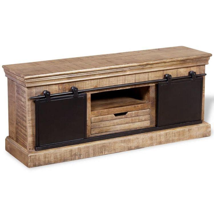 szafka pod TV z drewna mango z przesuwanymi drzwiczkami 110x30x45 cm