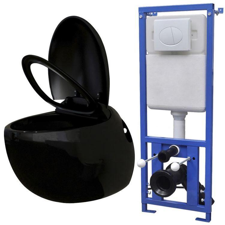 Podwieszana toaleta owalna, ze zbiornikiem, czarna