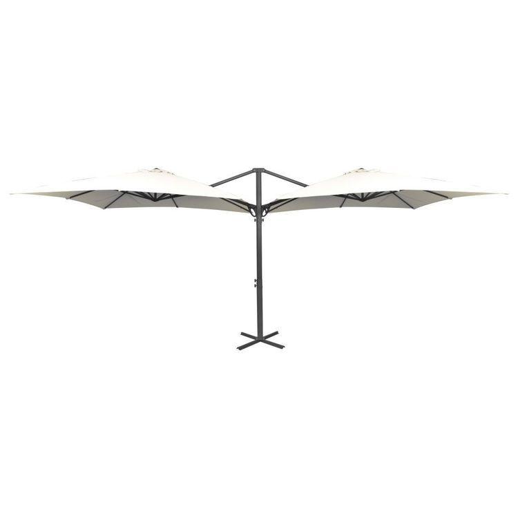Podwójny parasol z dwiema czaszami, 300x300 cm, kremowy