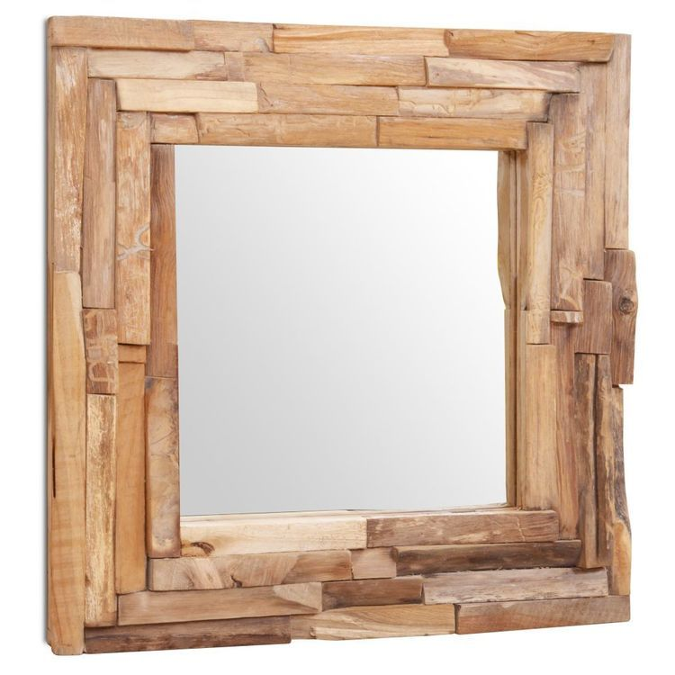 Lustro dekoracyjne, drewno tekowe, 60 x 60 cm, kwadratowe