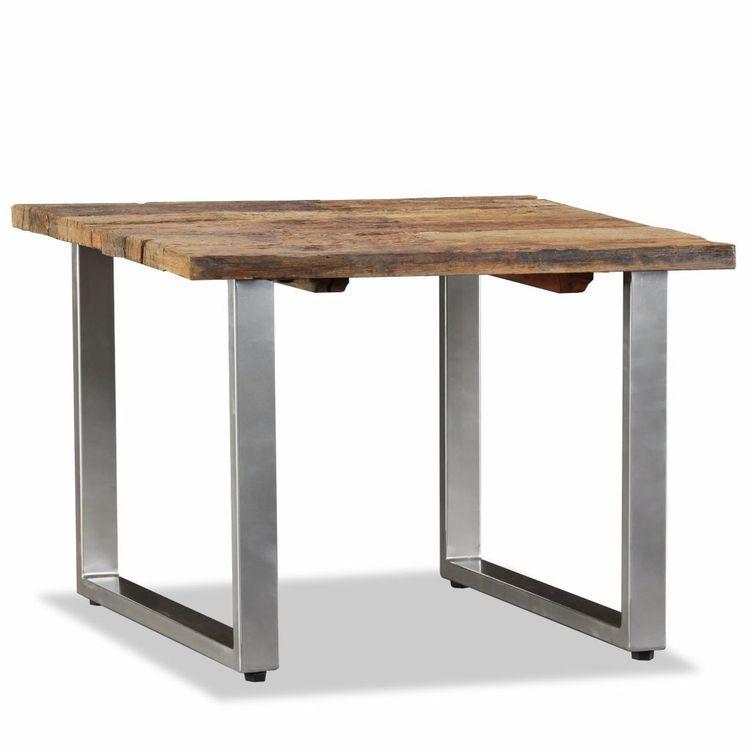 Stolik kawowy, lite drewno z odzysku, 55x55x40 cm