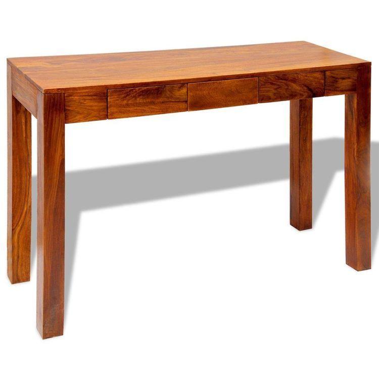 Stolik typu konsola z 3 szufladami, lite drewno sheesham, 80 cm