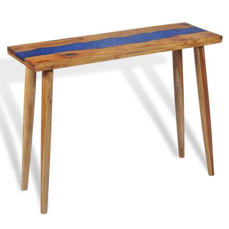 Stolik typu konsola z drewna tekowego i żywicy, 100x35x75 cm