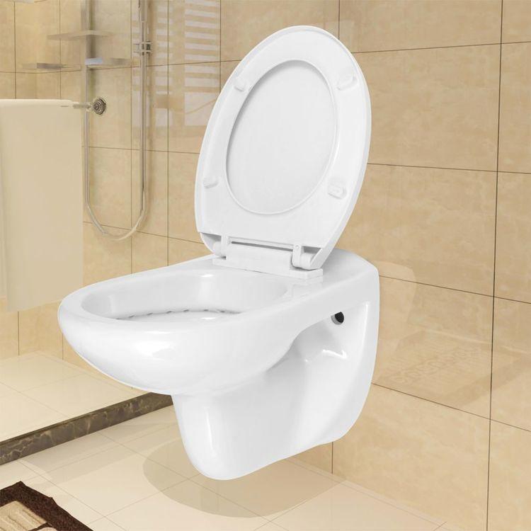 Toaleta podwieszana z cichym zamykaniem, ceramiczna, biała