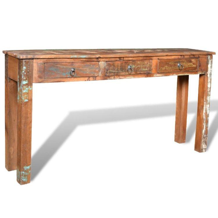 Stolik typu konsola z 3 szufladami, drewno odzyskane