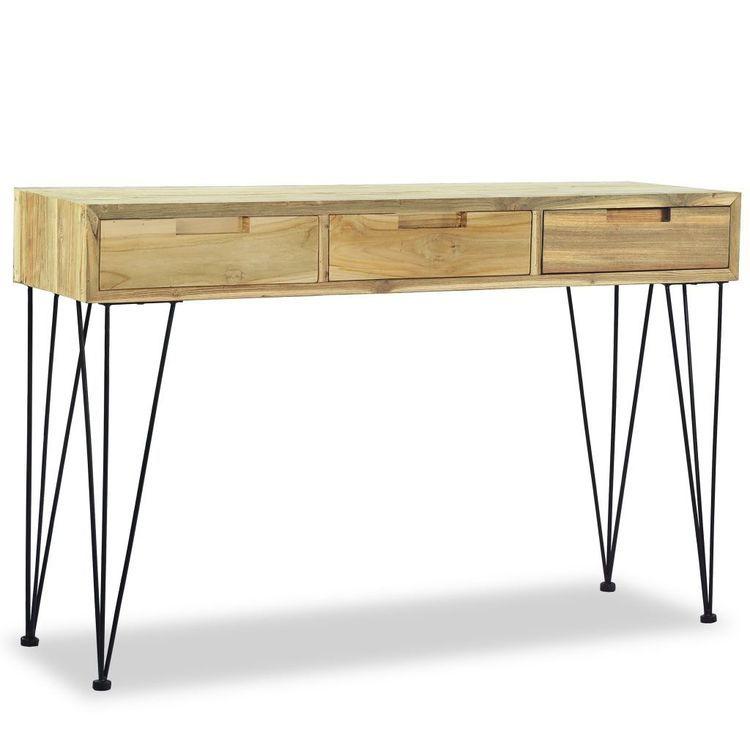 Stolik konsola, 120 x 35 x 76 cm, lite drewno tekowe