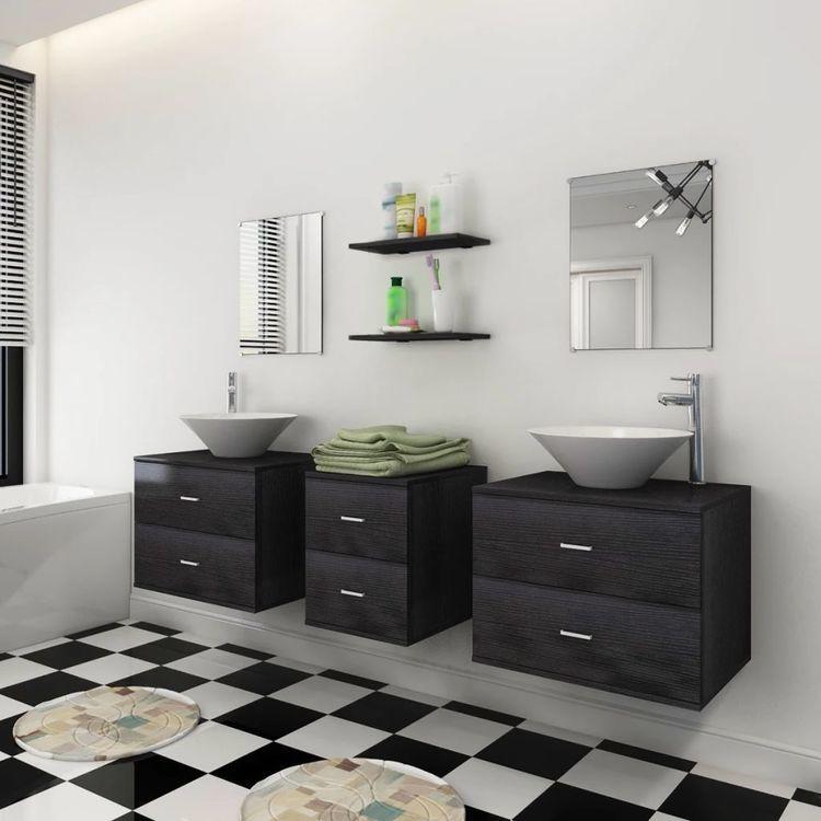 Zestaw do łazienki z umywalką, 7 elementów, czarny