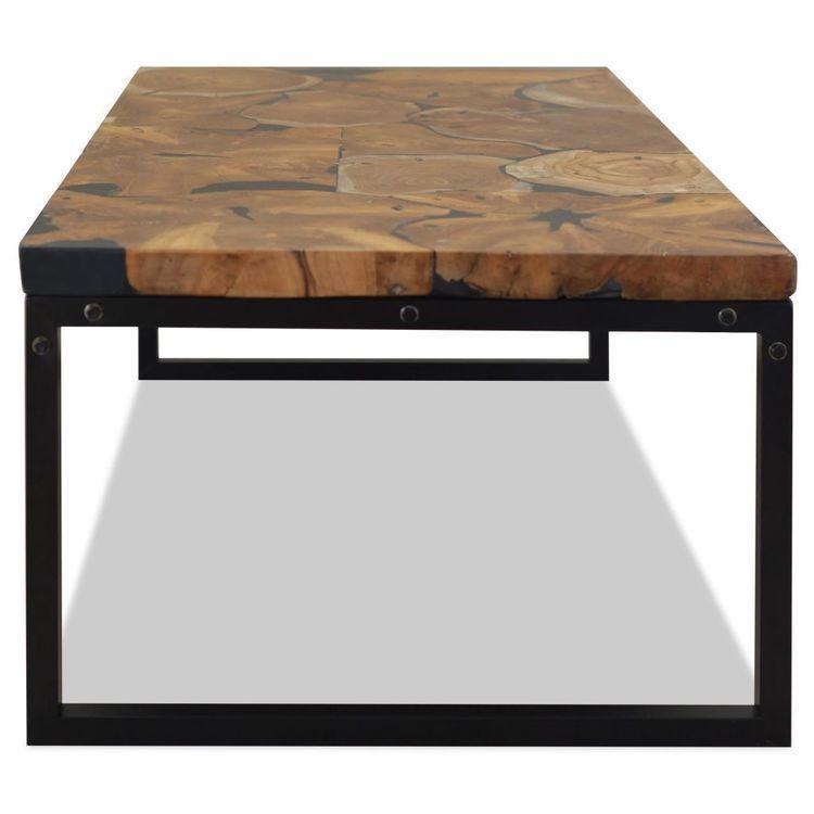 Stolik kawowy z drewna tekowego i żywicy, 110 x 60 x 40 cm
