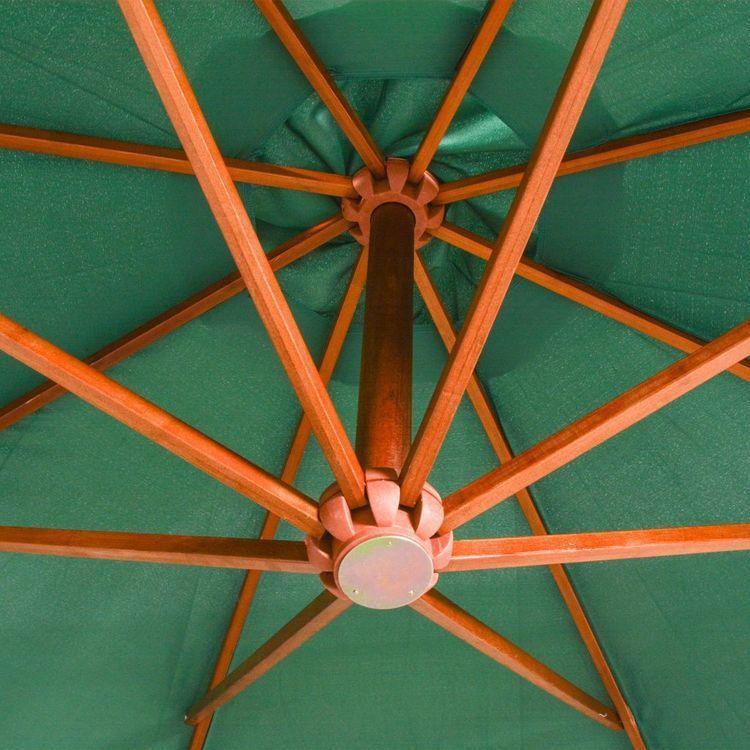 Parasol ogrodowy wiszący, 350 cm, drewniany, zielony