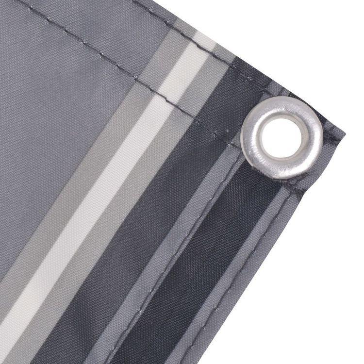 Parawan balkonowy z tkaniny oxford, 90x400 cm, szare paski