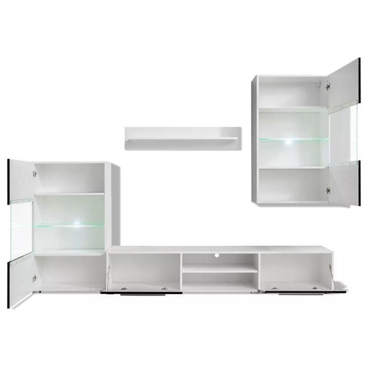 Meble do salonu z szafką pod TV i podświetleniem LED, 5 elementów, czarne