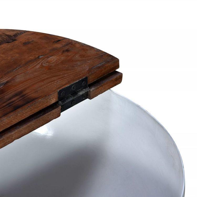 Stoliki Kawowe 2 Szt Drewno Z Odzysku Białe Kształt Misy