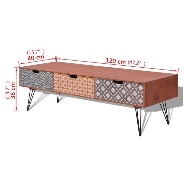 Szafka pod TV z 3 szufladami, 120x40x36 cm, brązowa