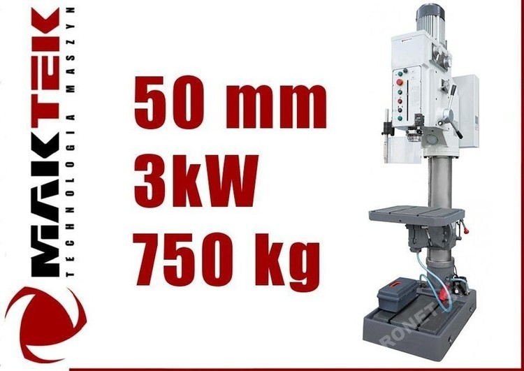 WIERTARKA GWINCIARKA STOŁOWA SLUPOWA KOLUMNOWA DO METALU PRZEKŁADNIOWA MAKTEK Z5050 50 mm Z AUTO POSUWAMI EWIMAX