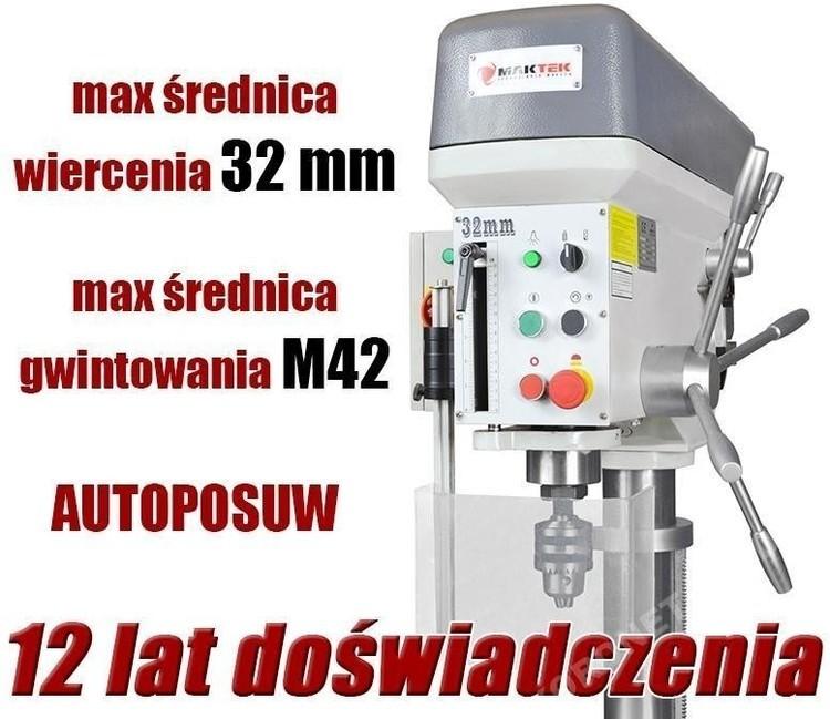 WIERTARKA GWINCIARKA STOŁOWA SLUPOWA KOLUMNOWA DO METALU MAKTEK WS32A Z AUTO POSUWAMI 32 mm EWIMAX