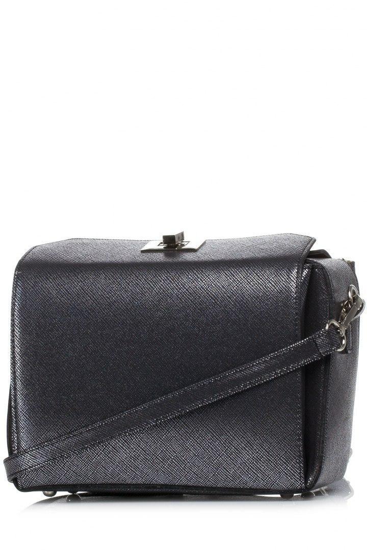 Podręczna torebka ciemno srebrna