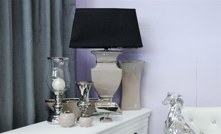 Lampa ceramiczna srebrna H: 34 cm