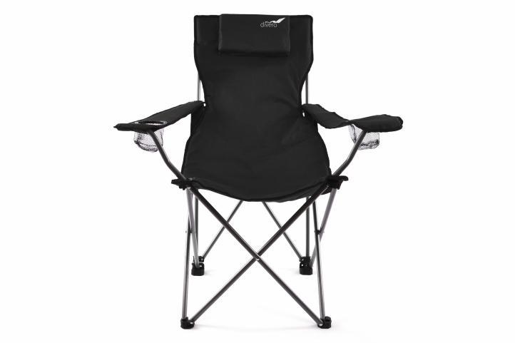 Krzesło turystyczne wędkarskie składane, czarne