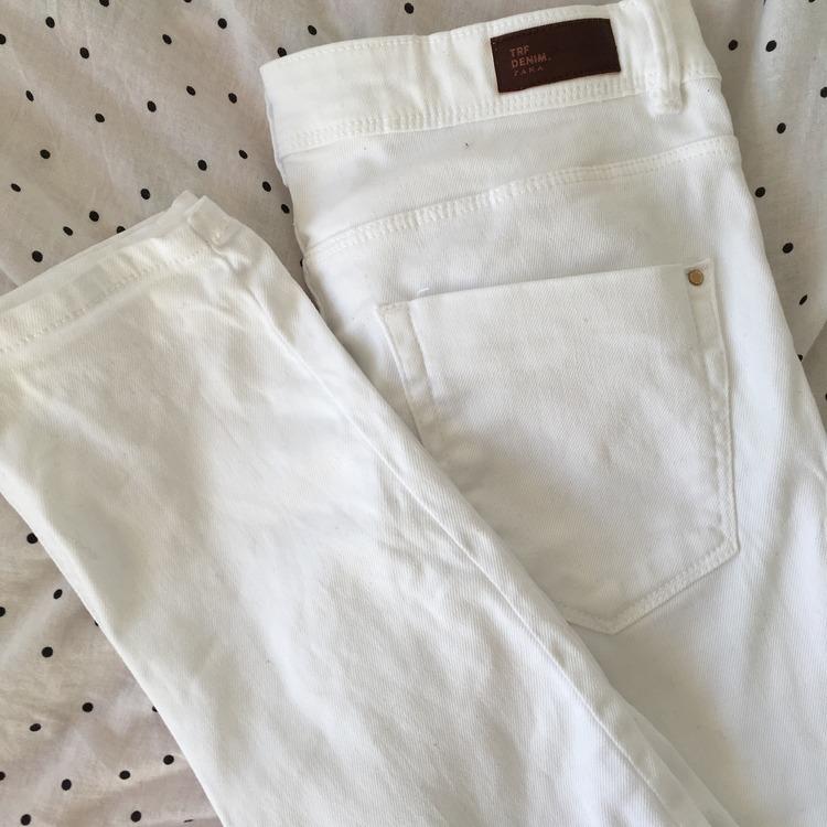 Białe spodnie Zara, straight
