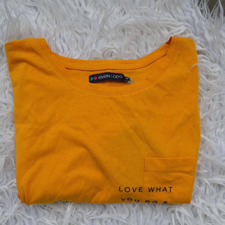 musztardowa even&odd zalando XL print nadruk minimal minimalizm love what you do