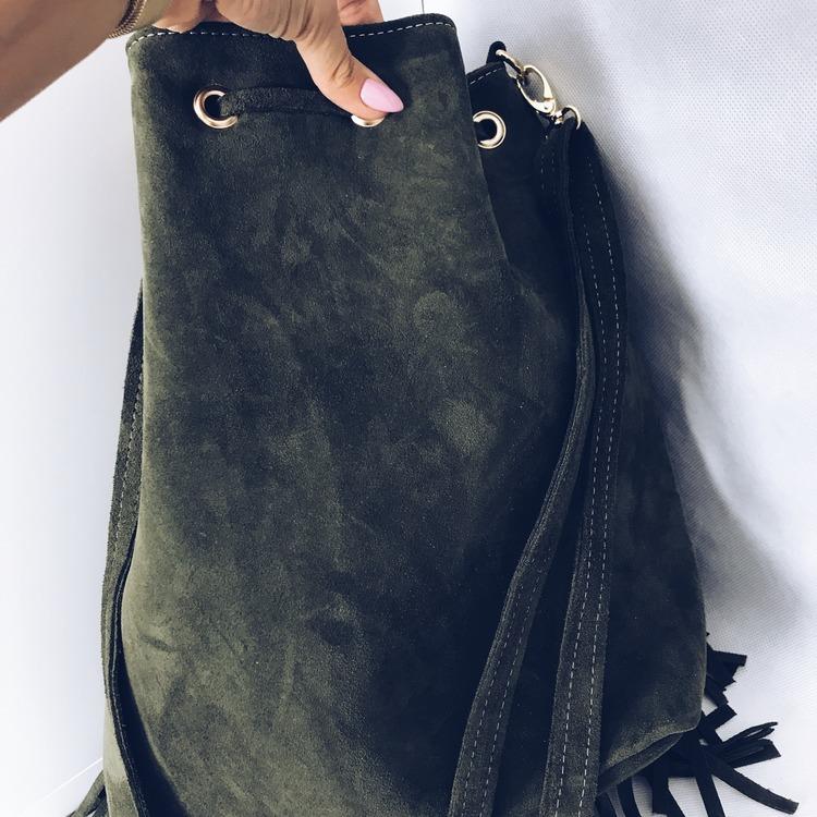 Khaki torba skóra zamszowa