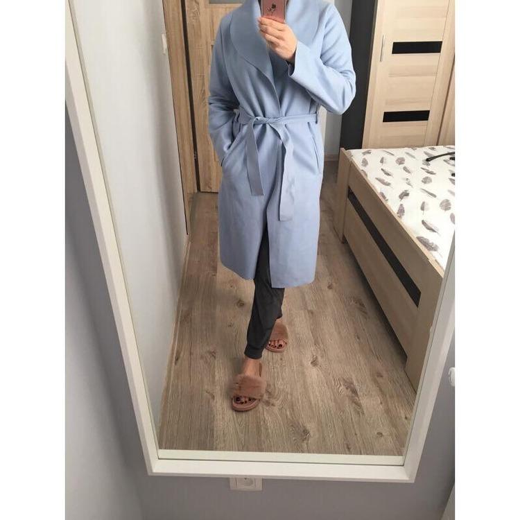 Pastelowy błękitny płaszcz / kardigan damski jesień HIT