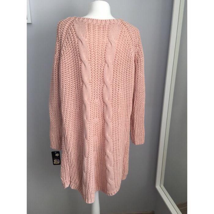 Długi sweter damski warkoczowy , 2 kolory ! HIT !