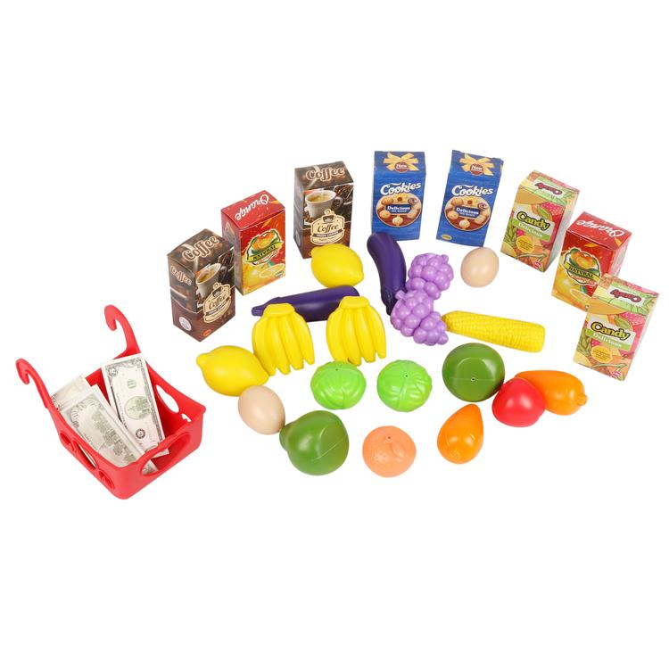 Wózek na zakupy dla dzieci do zabawy z akcesoriami