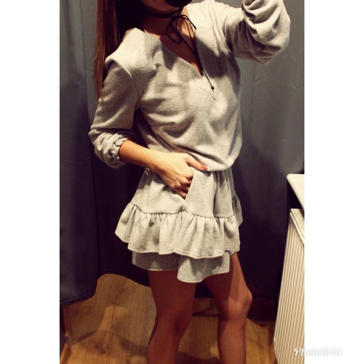 Szara Sweterkowa Sukienka NOWA